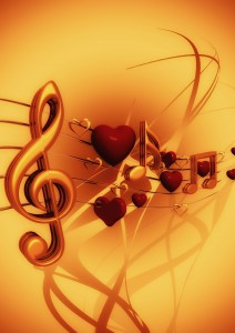notenschlüssel und Herzen